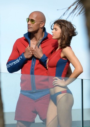 Alexandra Daddario in Bikini Bottom on Baywatch set -41