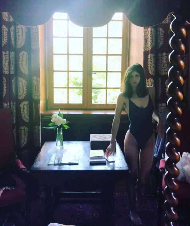 Alexandra Daddario in Black Swimsuit - Instagram