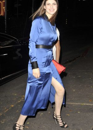 Alexandra Daddario in Blue Dress at Chateau Marmont Hotel in LA