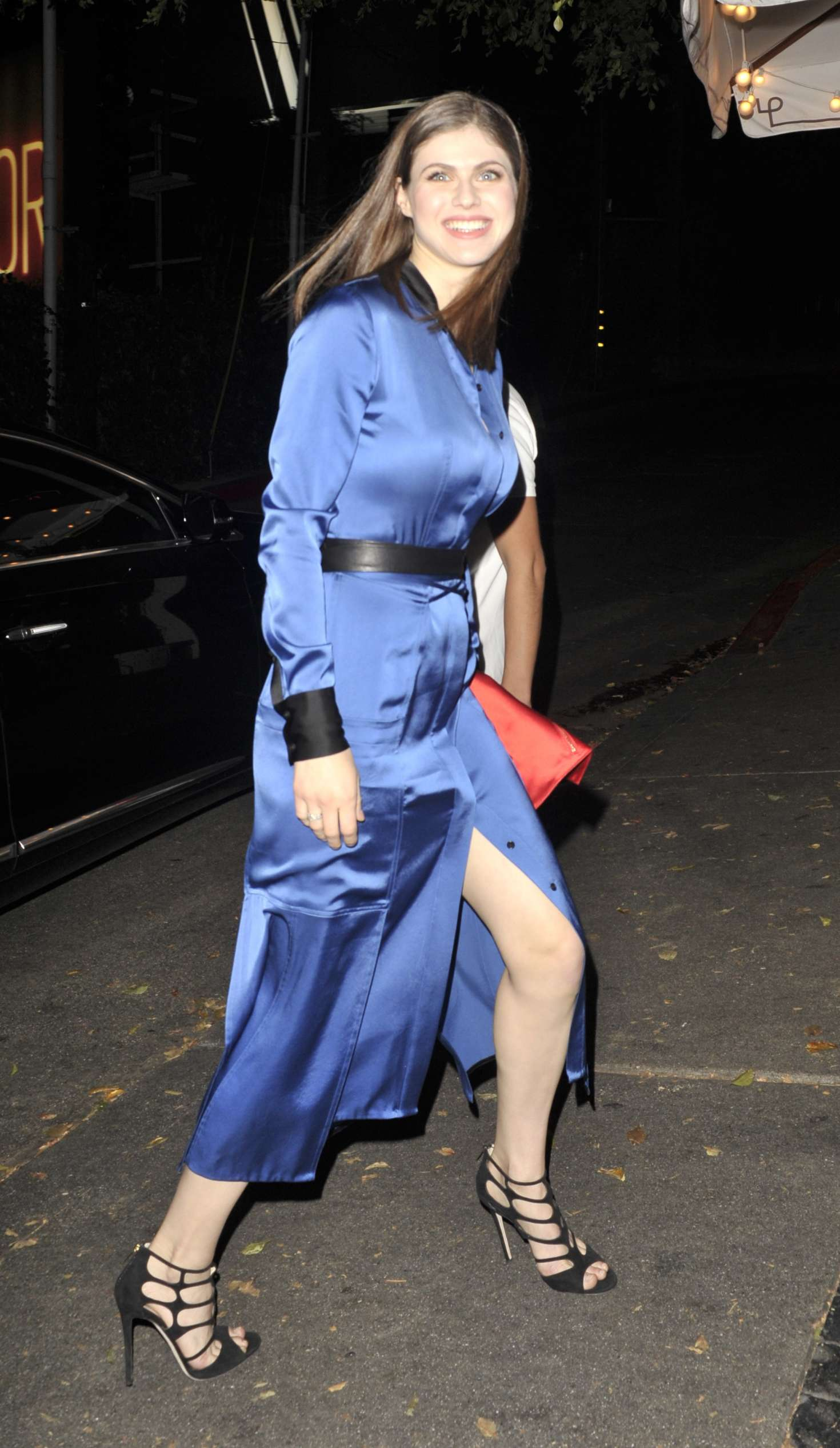 Alexandra Daddario In Blue Dress At Chateau Marmont Hotel