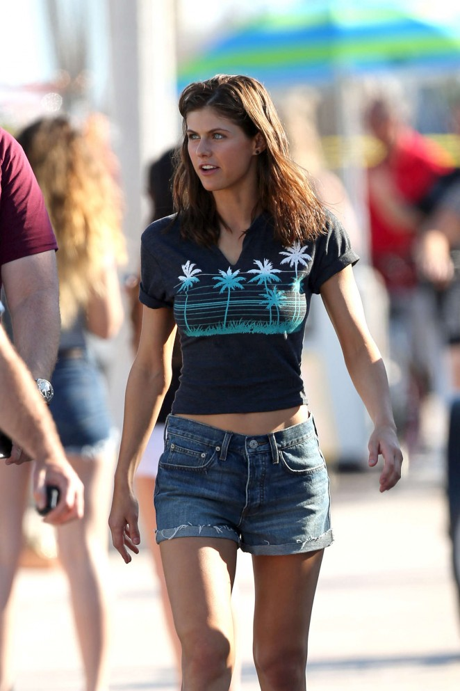 Alexandra Daddario in Jeans Shorts on the beach in Miami