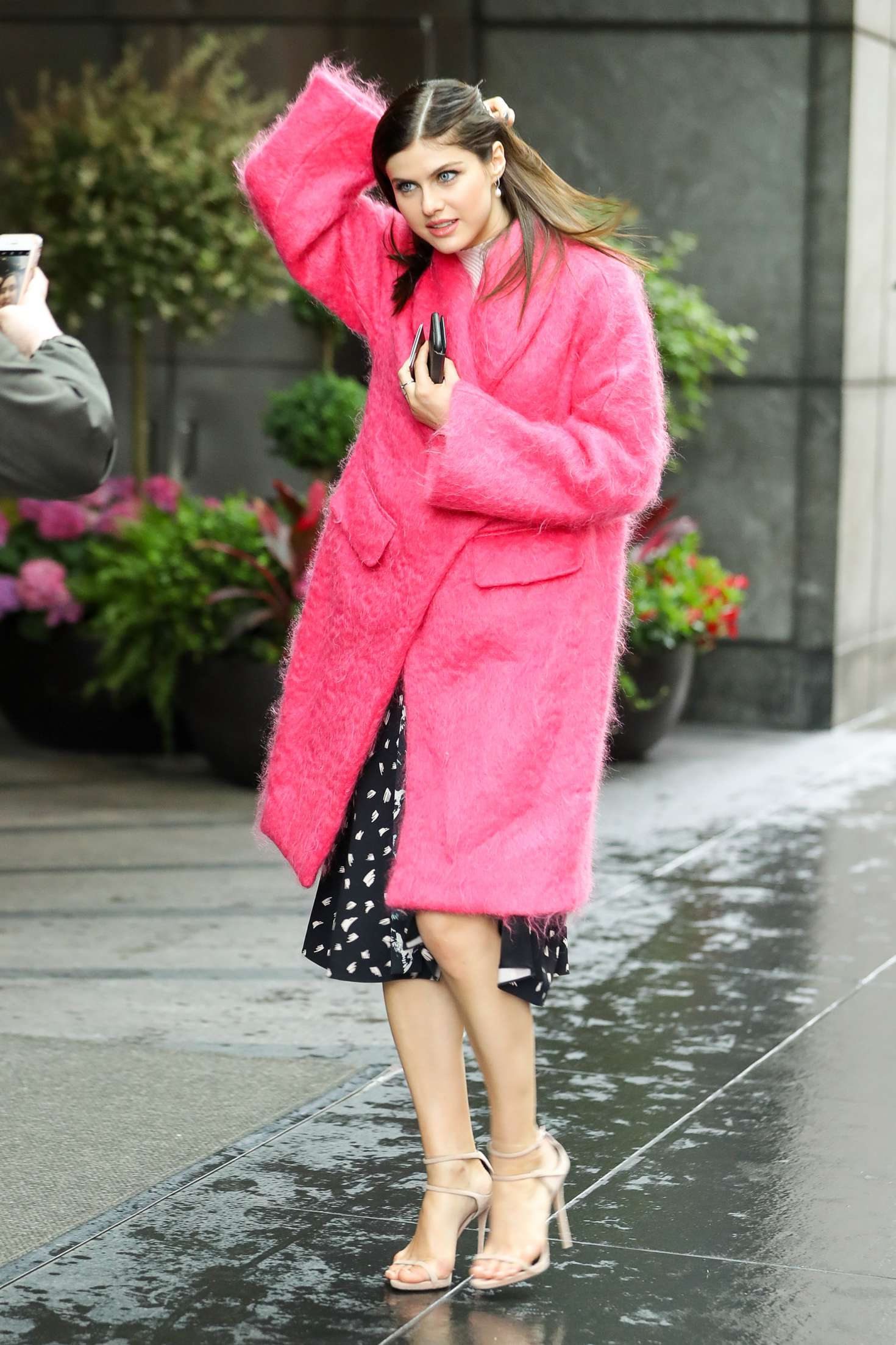 Alexandra Daddario In Pink Fur Coat Out In New York