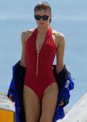 Alexandra Daddario in Red Swimsuit on 'Baywatch' Set in Tybee