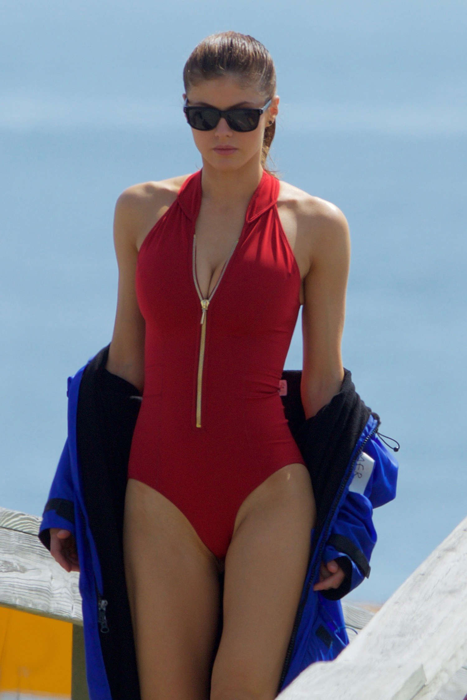 Alexandra Daddario In Red Swimsuit On Baywatch Set In