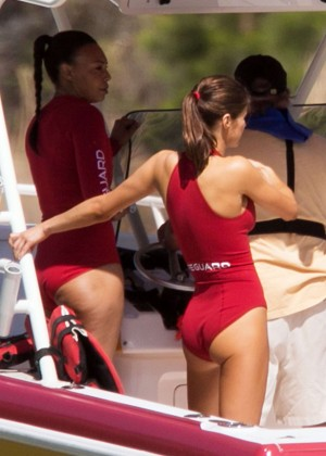 Alexandra Daddario in Red Swimsuit on the set of 'Baywatch' in Miami