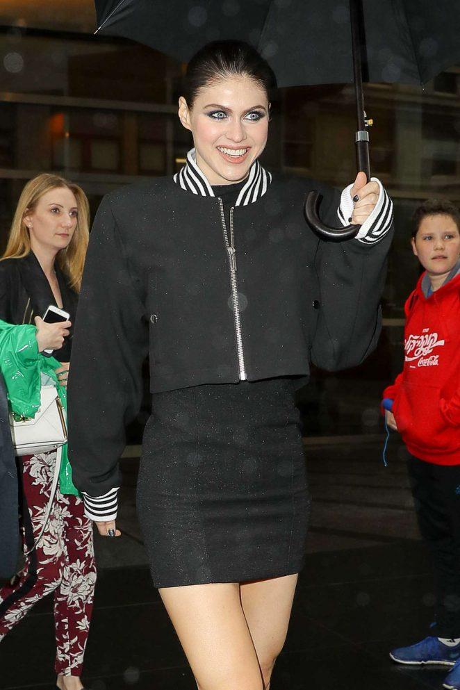 Alexandra Daddario in Short Dress Leaving her hotel in NYC