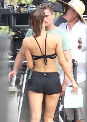 Alexandra Daddario in Shorts On Baywatch set -06