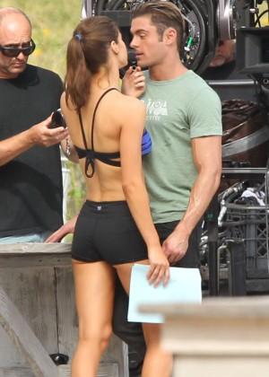 Alexandra Daddario in Shorts On Baywatch set -17