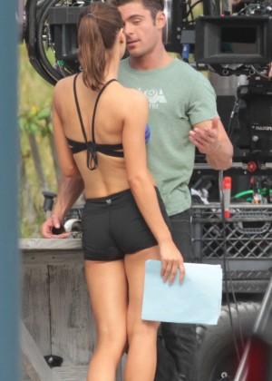 Alexandra Daddario in Shorts On Baywatch set -23