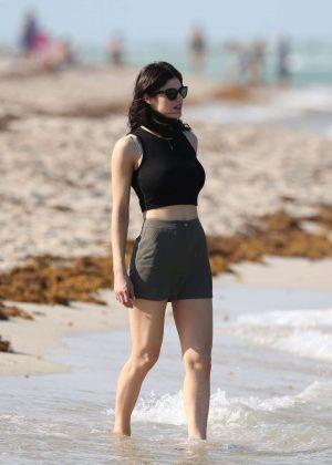 Alexandra Daddario in Shorts on Miami Beach