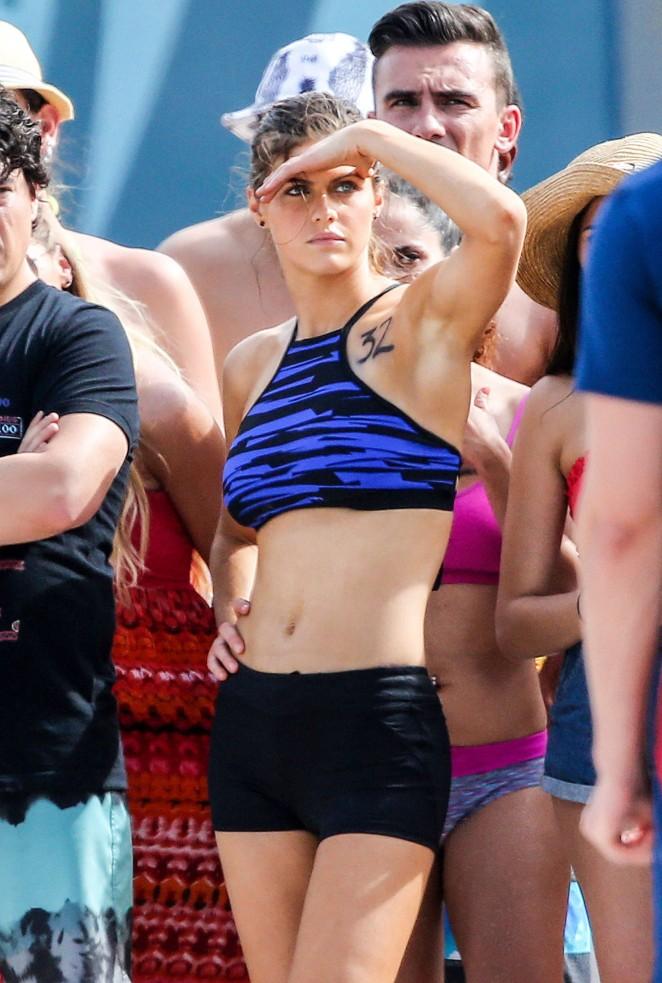Alexandra Daddario on Baywatch set -17