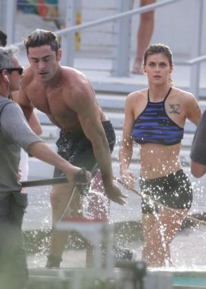 Alexandra Daddario on Baywatch set -20