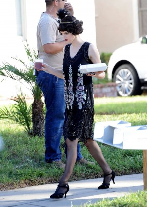 Alexandra Daddario on the set of 'American Horror Story' in LA