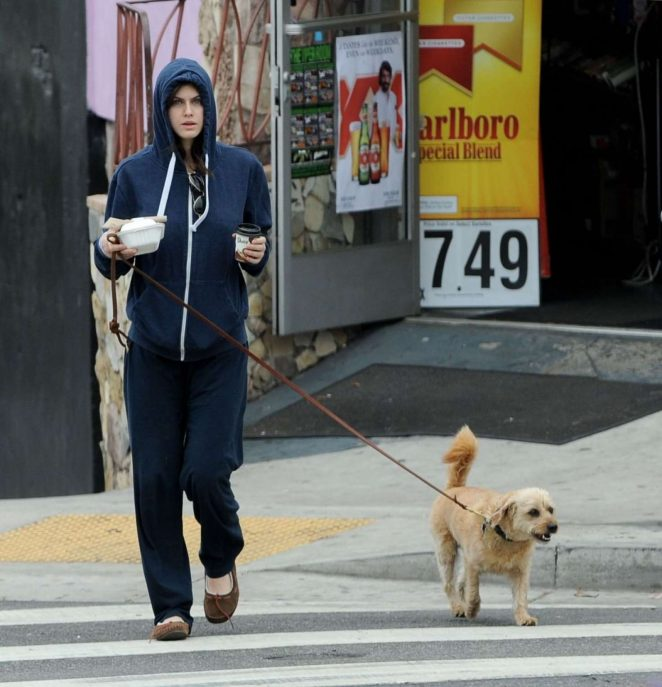 Alexandra Daddario With Her Dog out in Los Angeles