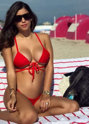 Alexandra Michelle Rodriguez in Red Bikini on the Beach in Miami
