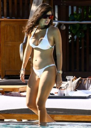 Alexandra Michelle Rodriguez in White Bikini at the pool in Miami