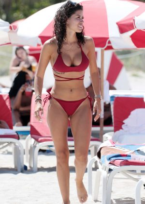 Alexandra Rodriguez in Crimson Bikini at the beach in Miami