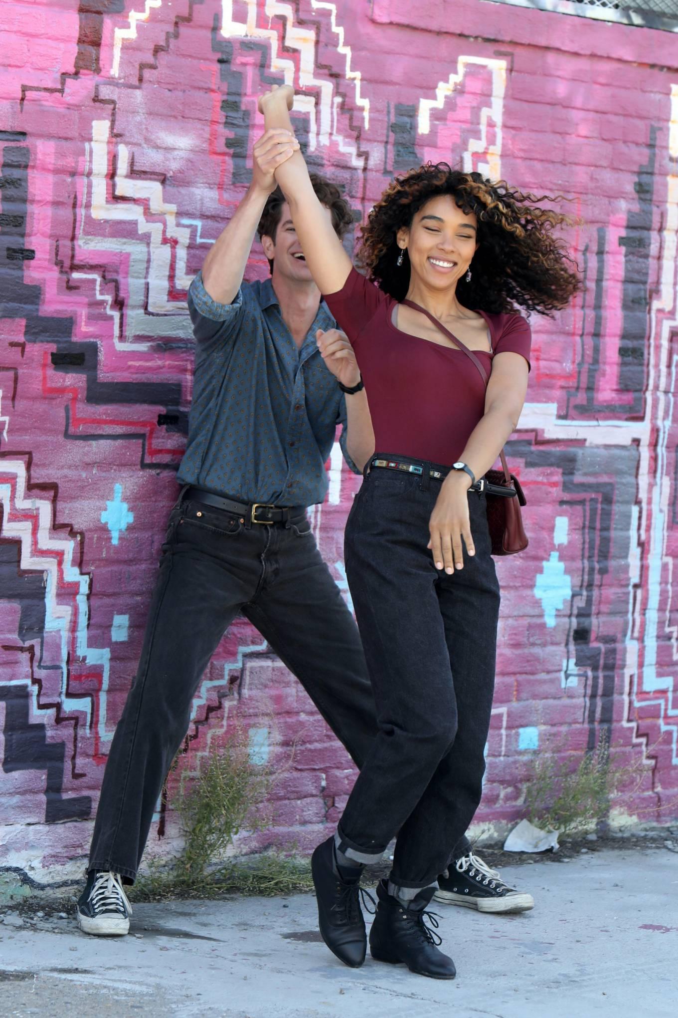 Alexandra Shipp - With Andrew Garfield - Filming 'Tick, Tick... Boom' in New York