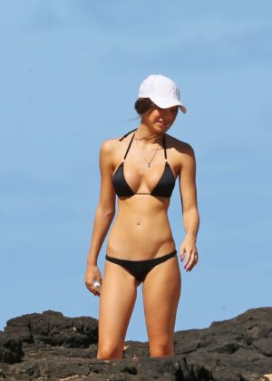 Alexis Ren in Black Bikini at a beach in Hawaii