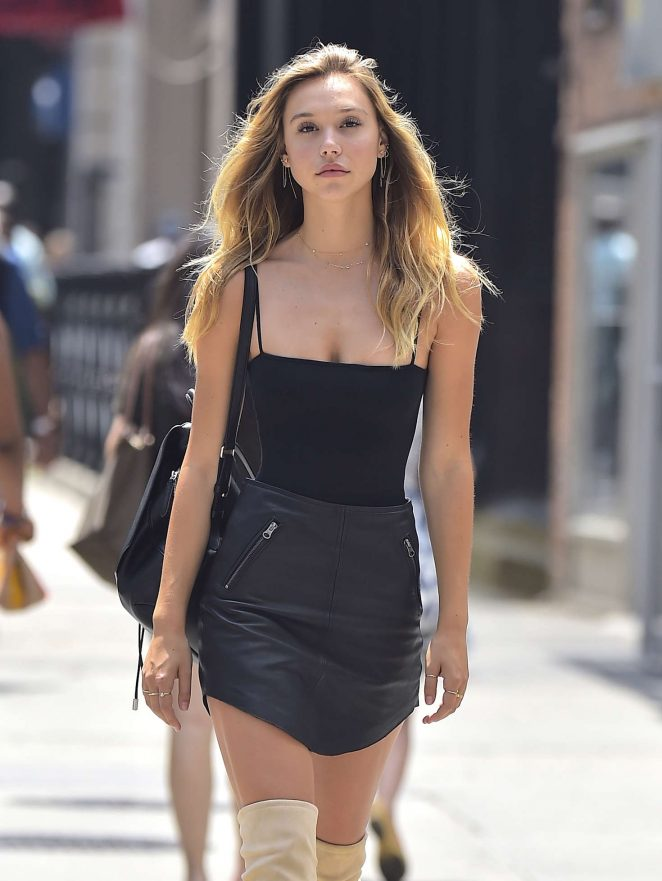 Alexis Ren in Mini Skirt Out in New York