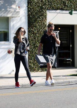 Alexis Ren with her boyfriend Bear - Leaving an office in LA