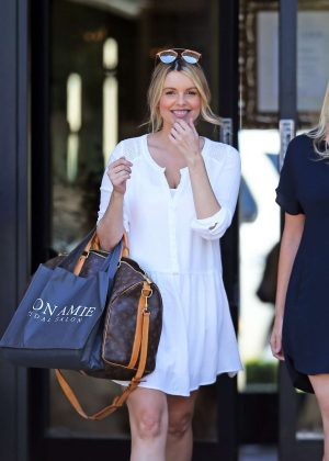 Ali Fedotowsky in Short Dress at Mon Amie Bridal Salon in Costa Mesa