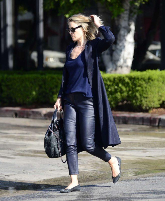 Ali Larter in Leather – Exiting a salon in LA