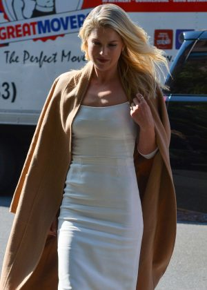 Ali Larter in White Tight Dress out in New York