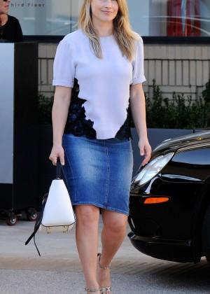 Ali Larter in Jeans Skirt Leaving Barneys New York in Beverly Hills