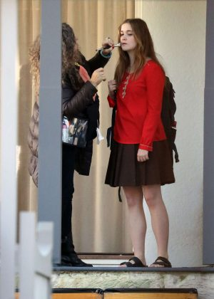 Alice Englert - On set of 'Top of the Lake' in Sydney