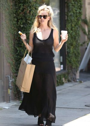 Alice Eve In Black Dress Shopping On Melrose Place In West