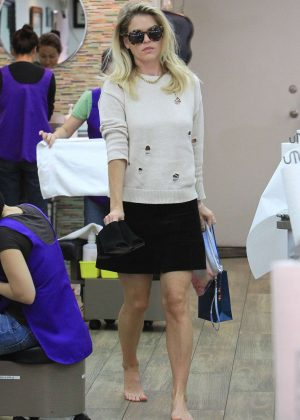 Alice Eve in Black Mini Skirt at a nail salon in Beverly Hills Miley Cyrus