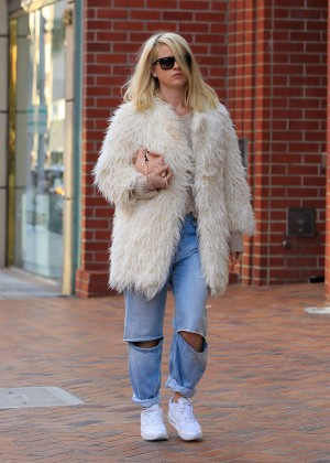 Alice Eve in fur coat out in LA