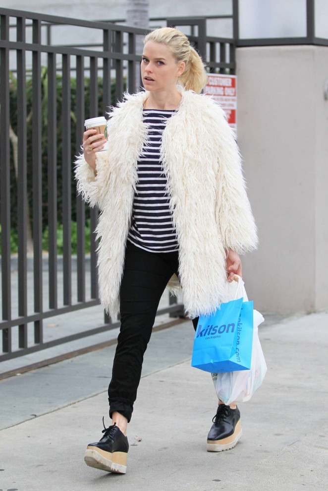 Alice Eve in White Fur Coat Out in Los Angeles