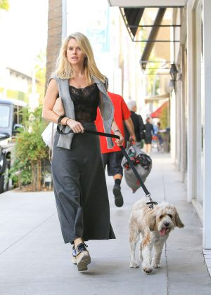 Alice Eve walking her dog Buddy in Los Angeles