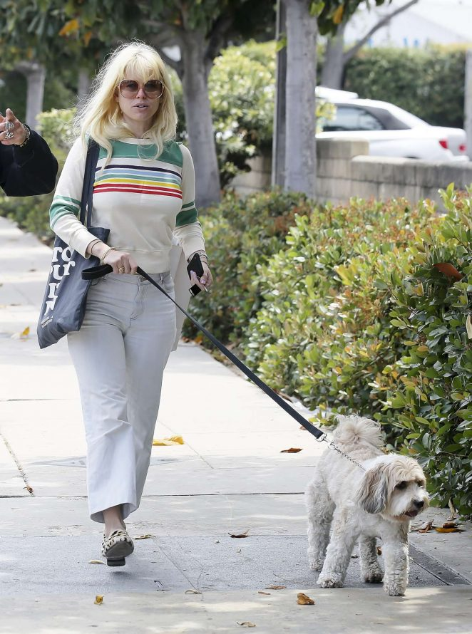 Alice Eve walks her dog in Los Angeles