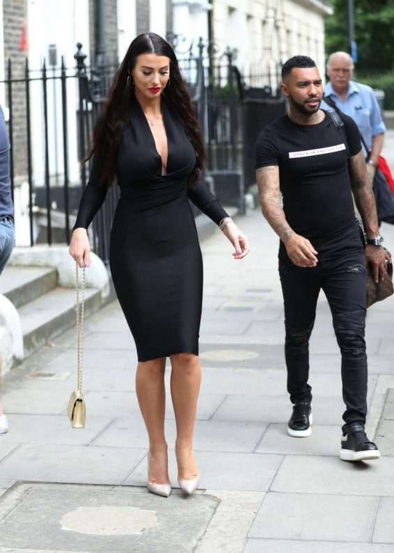 Alice Goodwin in Black Ttight Dress - Eexits 'Celebs Go Dating' with Jermaine Pennant in London
