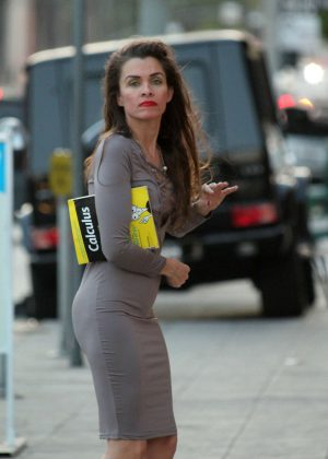 Alicia Arden in a tight grey dress out in Los Angeles
