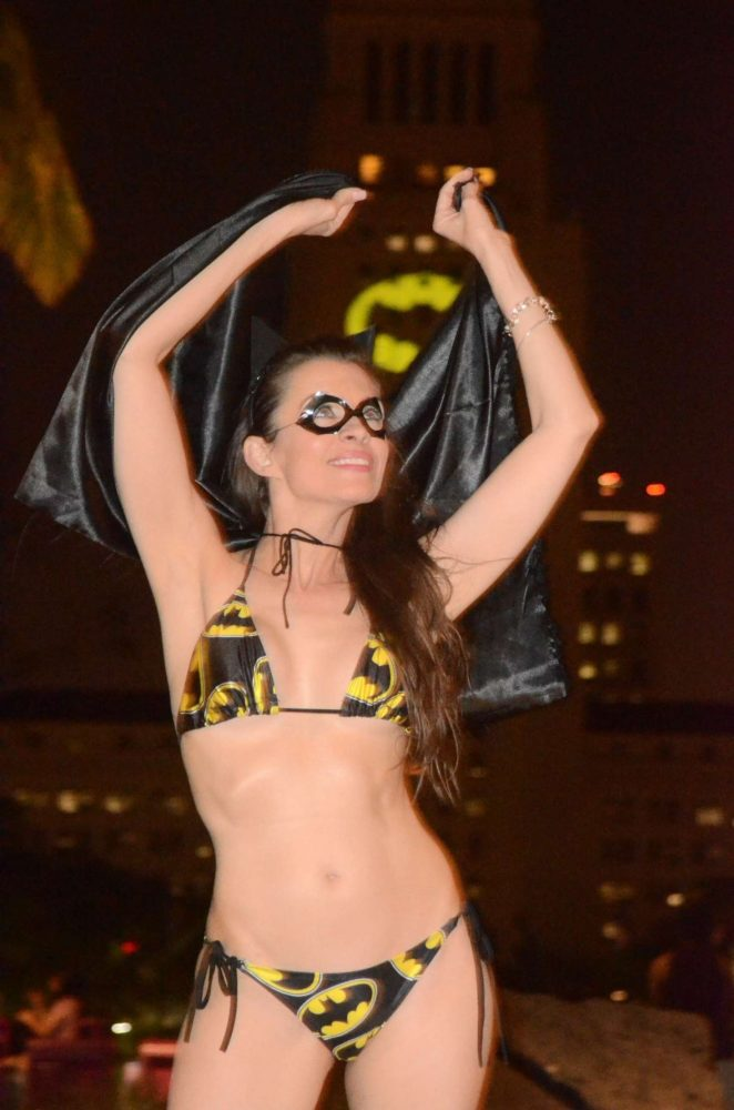 Alicia Arden in Bikini at Bat Signal Lighting Ceremony in Los Angeles