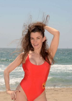Alicia Arden in Red Swimsuit on Venice Beach