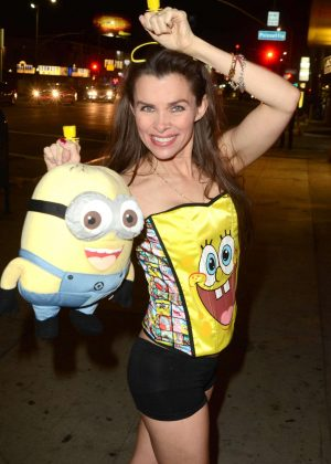 Alicia Arden in Sponge Bob costume in Hollywood