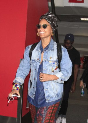 Alicia Keys at LAX Airport in LA