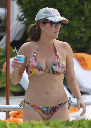 Alicia Machado in Bikini on the pool in Miami