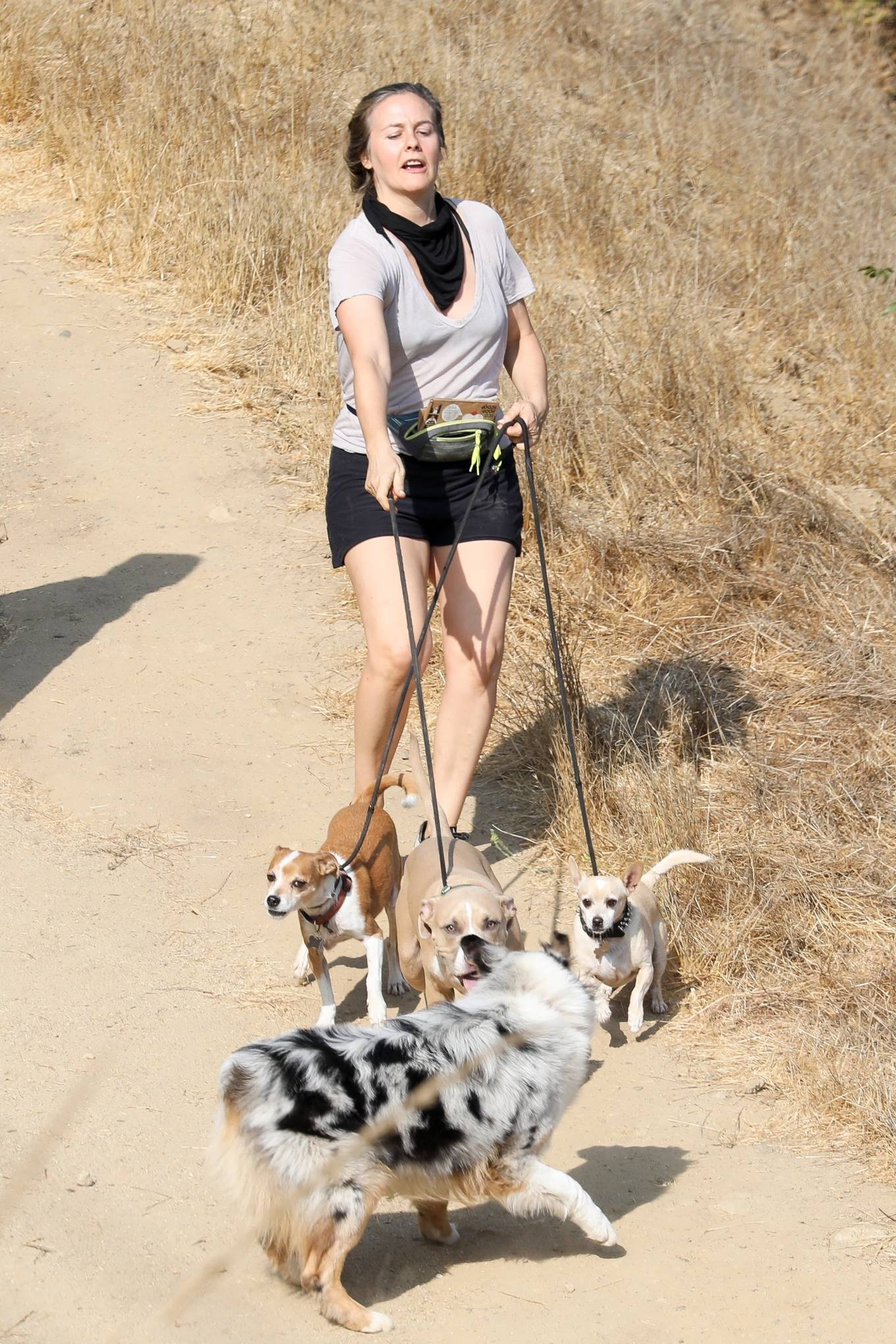 Alicia Silverstone 2020 : Alicia Silverstone – Hike with her dogs and a friend in Los Angeles-16