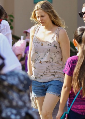 Alicia Silverstone in Jeans Shorts on Disneyland in Florida