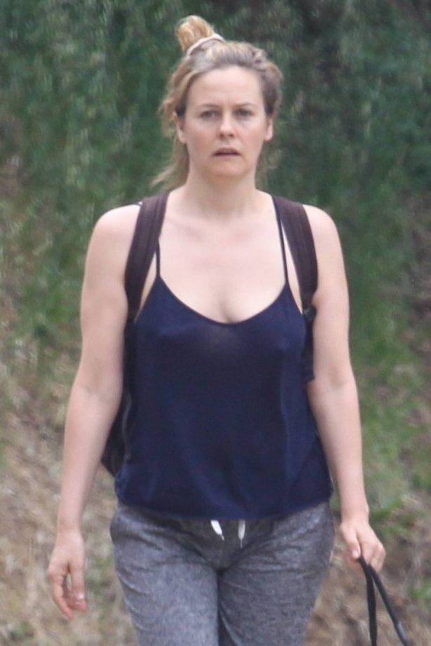 Alicia Silverstone - Walking her dogs in Hollywood