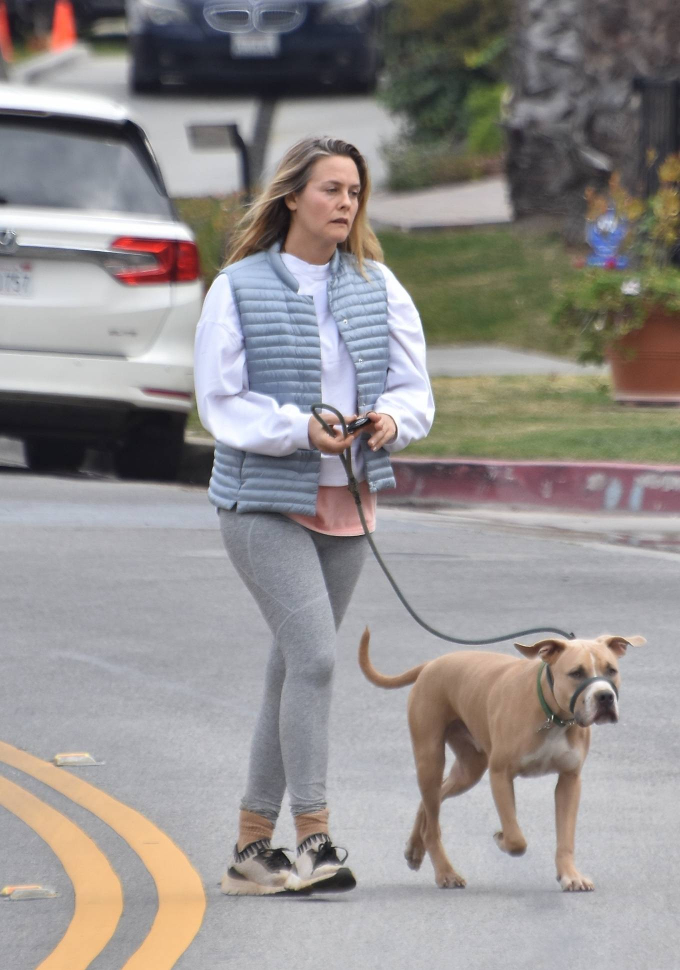 Alicia Silverstone - With her dog out in Los Angeles
