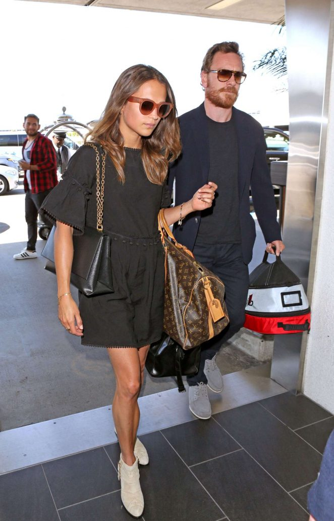 Alicia Vikander and Michael Fassbender at LAX Airport in LA