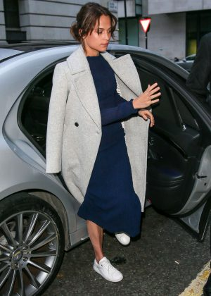 Alicia Vikander - Arriving at BBC Radio Two studios in London