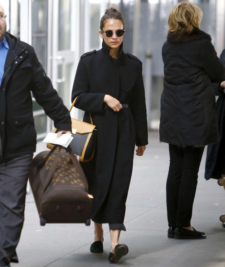 Alicia Vikander: Arriving at JFK Airport -03